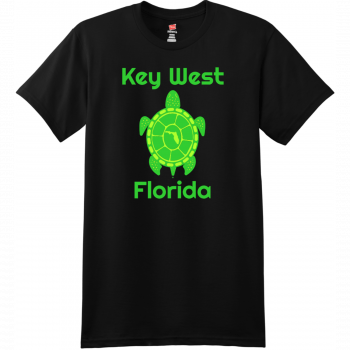 Key West Florida Turtle T Shirt Black Hanes Nano 4980 Ringspun Cotton T Shirt