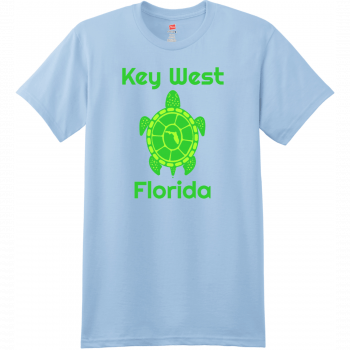 Key West Florida Turtle T Shirt Light Blue Hanes Nano 4980 Ringspun Cotton T Shirt