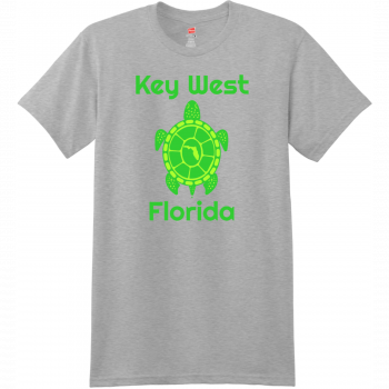 Key West Florida Turtle T Shirt Light Steel Hanes Nano 4980 Ringspun Cotton T Shirt