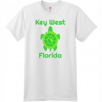 Key West Florida Turtle T Shirt White Hanes Nano 4980 Ringspun Cotton T Shirt