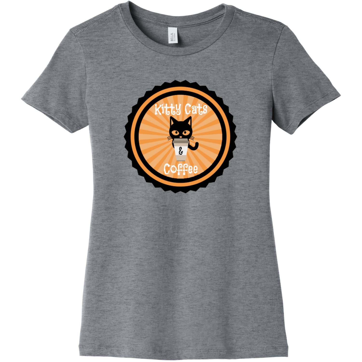 Kitty Cats and Coffee Ladies T Shirt Athletic Heather Bella Canvas 6004 Ladies The Favorite Tee
