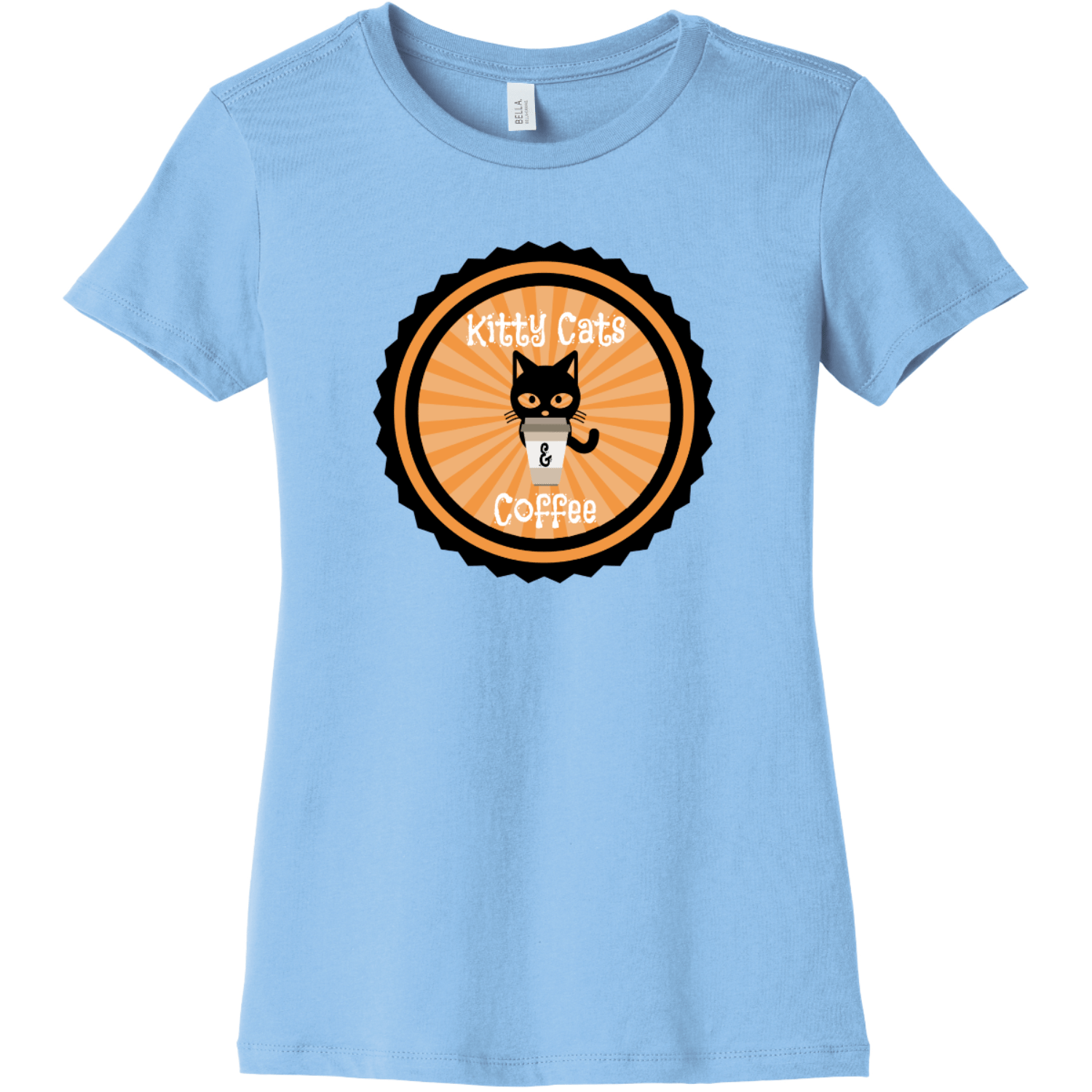 Kitty Cats and Coffee Ladies T Shirt Baby Blue Bella Canvas 6004 Ladies The Favorite Tee