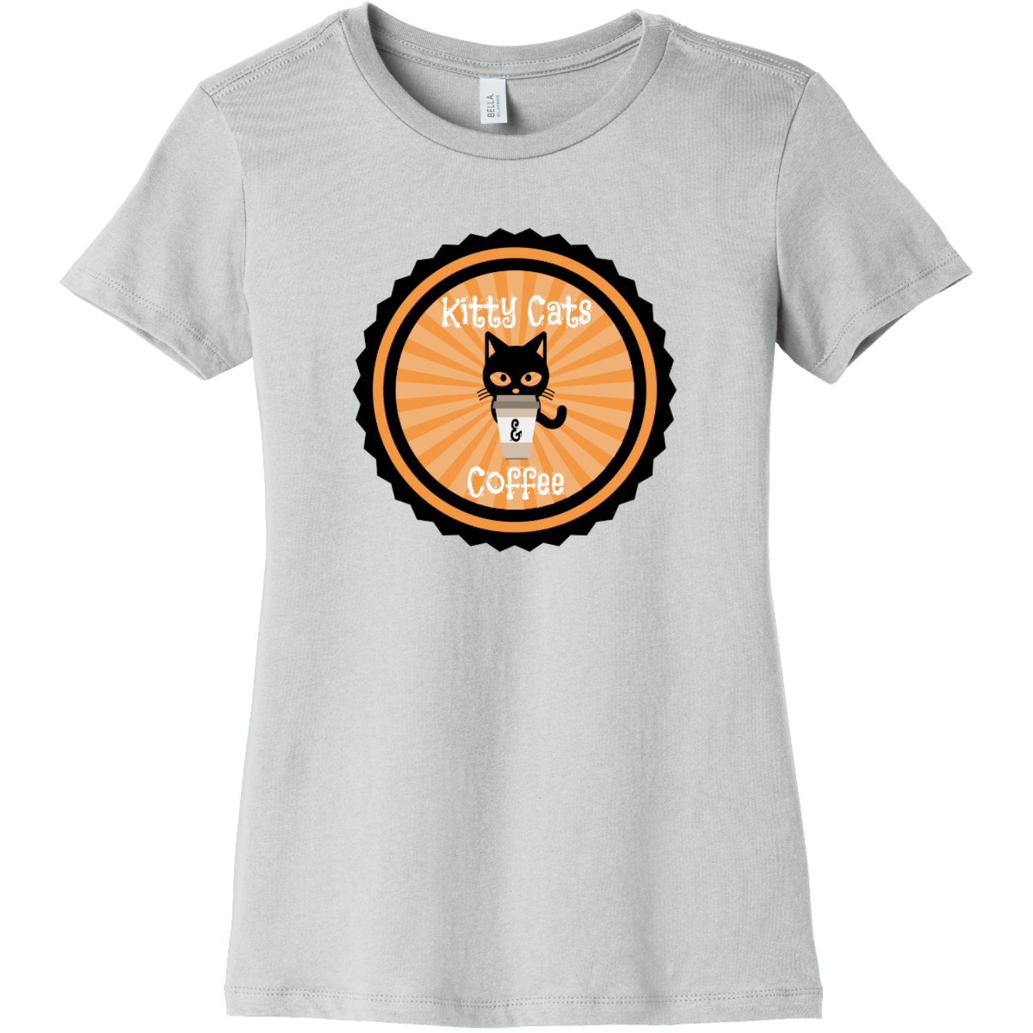Kitty Cats and Coffee Ladies T Shirt Silver Bella Canvas 6004 Ladies The Favorite Tee