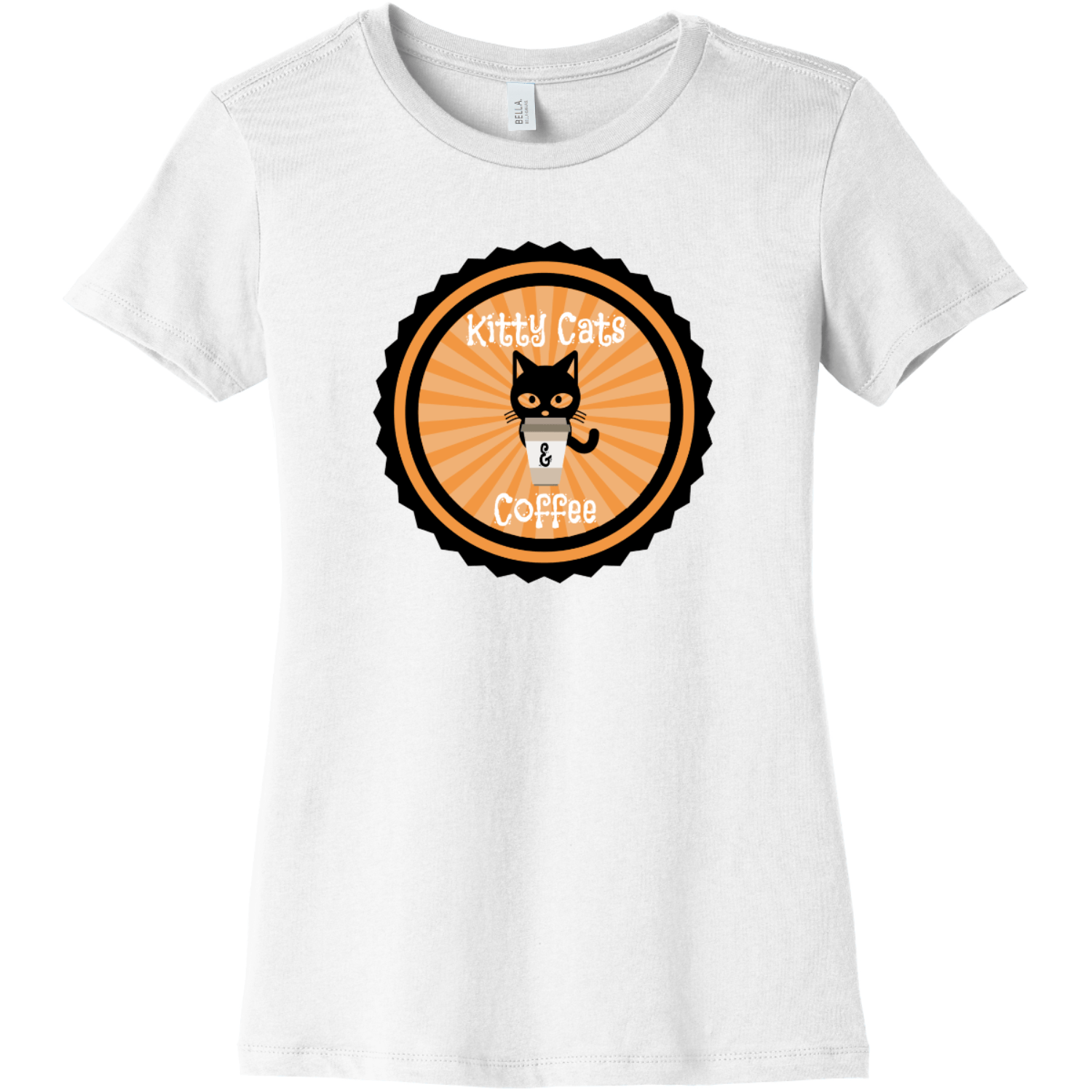 Kitty Cats and Coffee Ladies T Shirt White Bella Canvas 6004 Ladies The Favorite Tee
