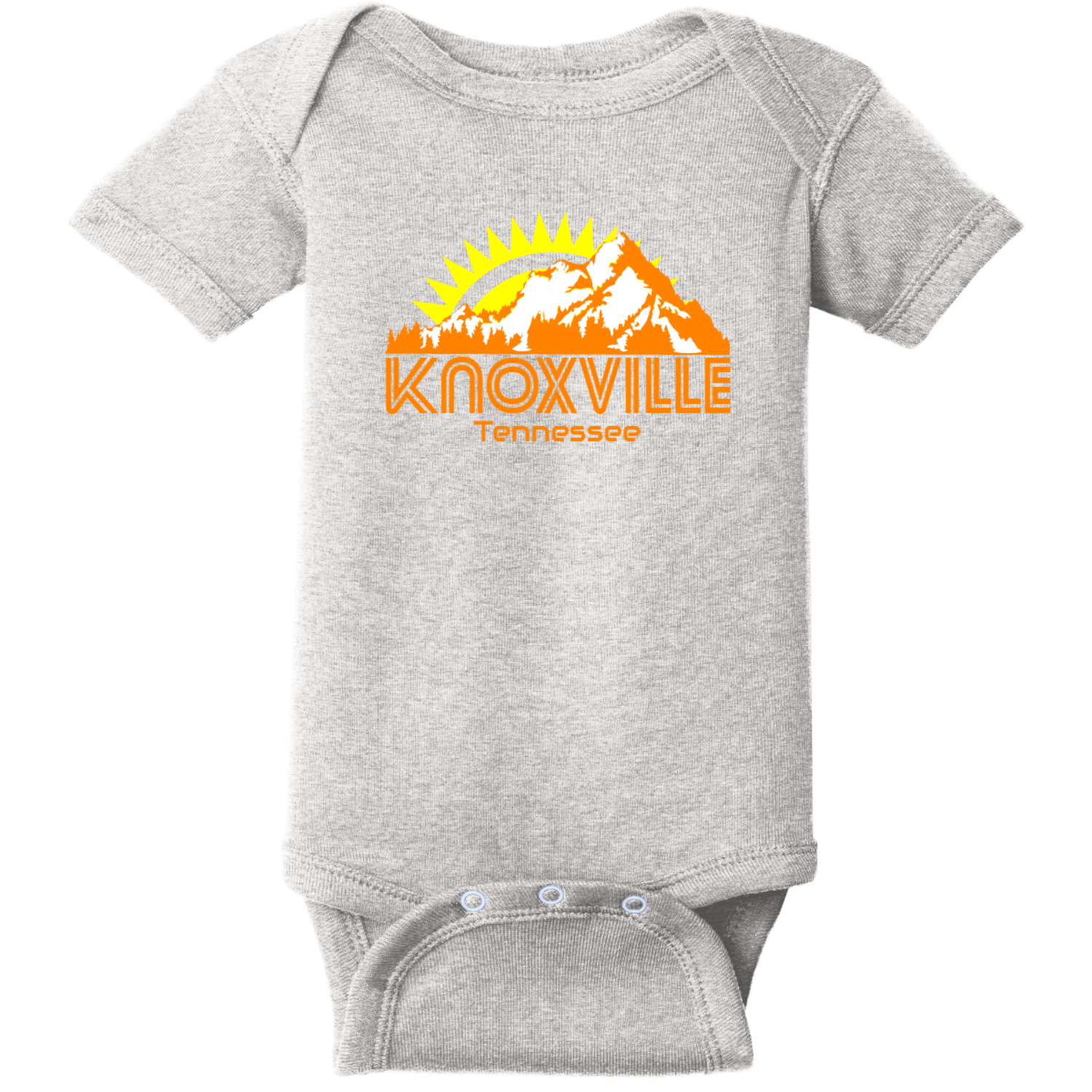 Knoxville Tennessee Mountains Baby Creeper Heather Rabbit Skins Infant Short Sleeve Infant Rib Bodysuit RS4400