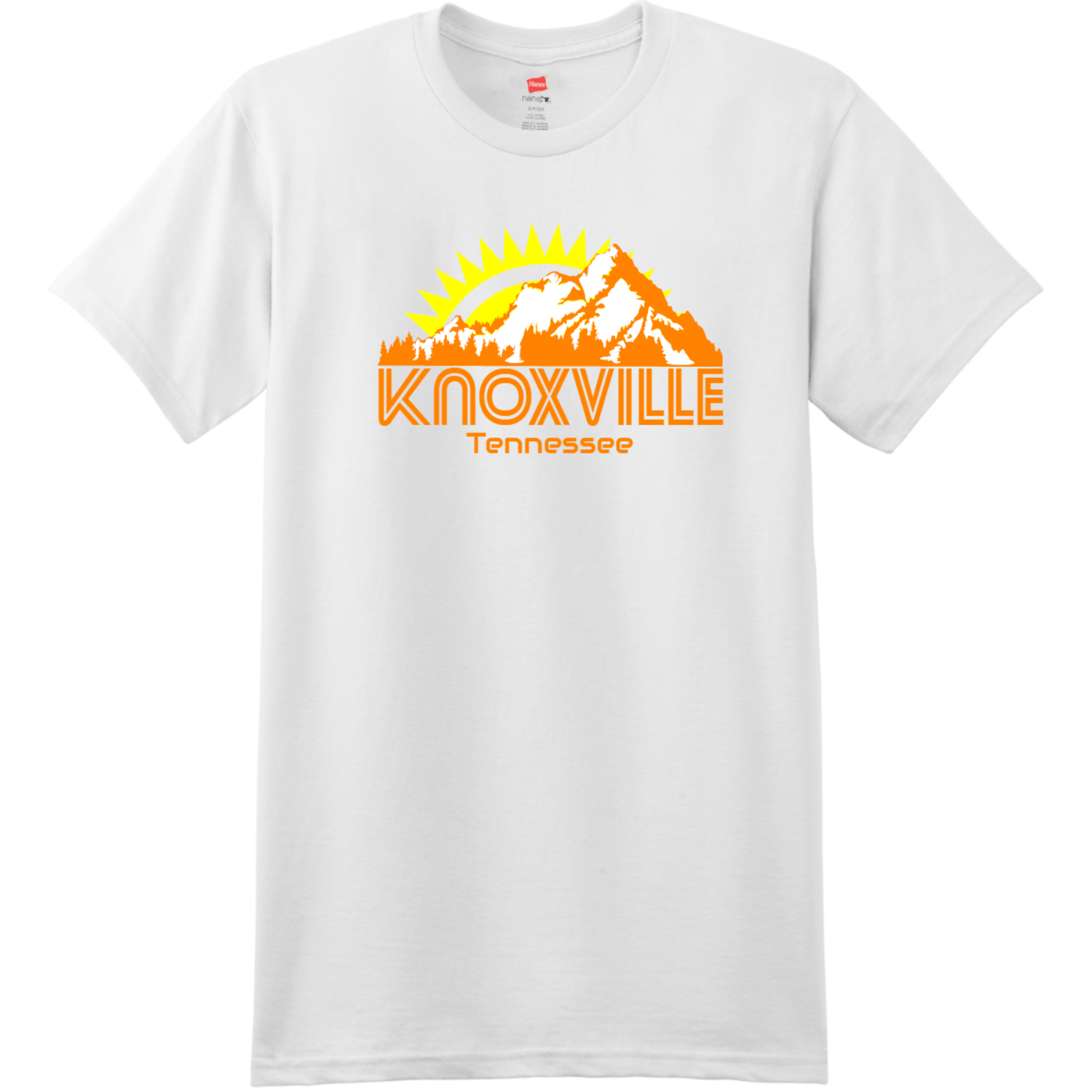 Knoxville Tennessee Mountains T Shirt White Hanes Nano 4980 Ringspun Cotton T Shirt