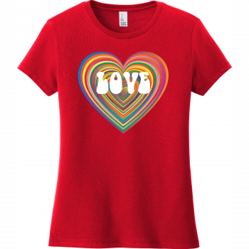 Love Psychedelic Heart T Shirt Classic Red District Women's Very Important Tee DT6002