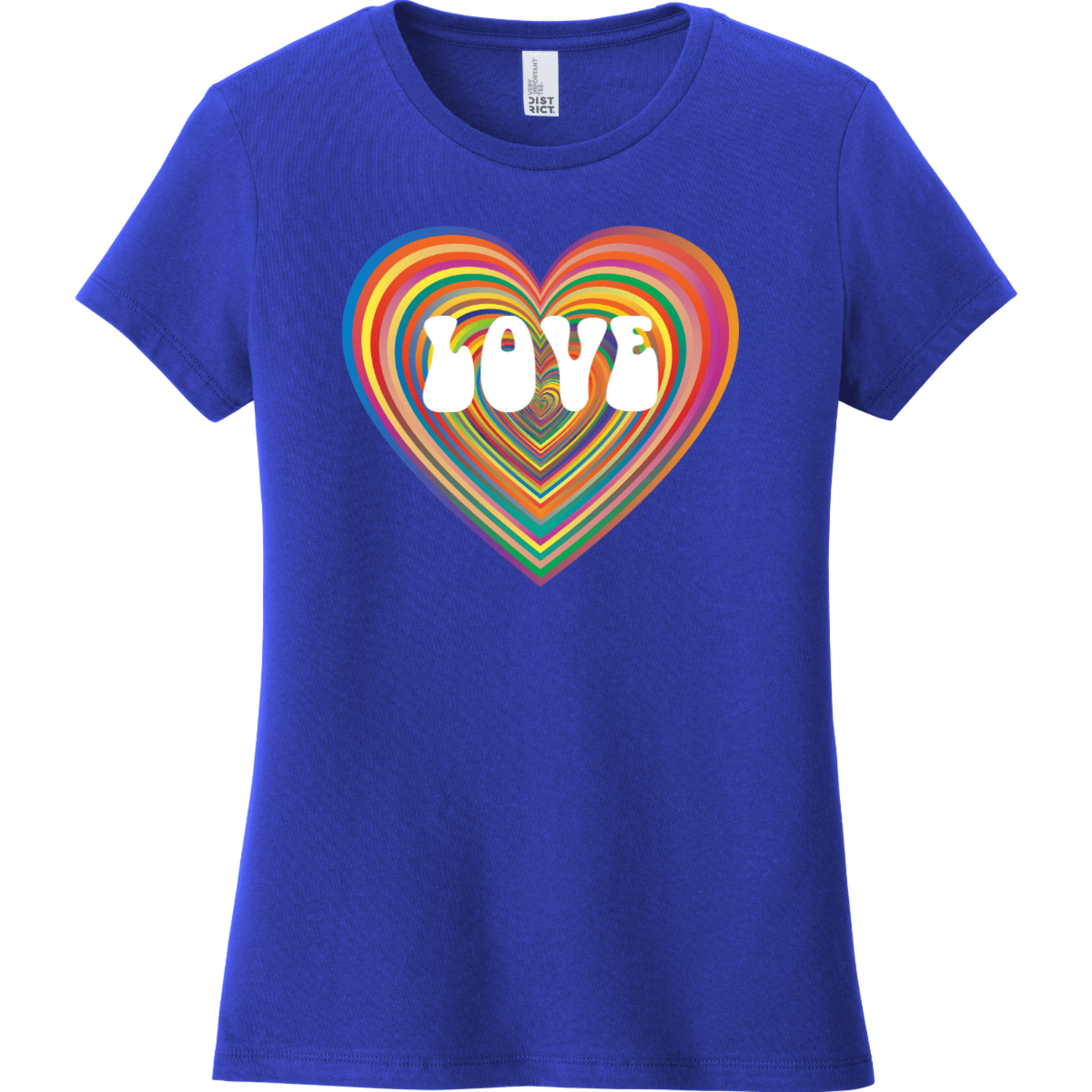 Love Psychedelic Heart T Shirt Deep Royal District Women's Very Important Tee DT6002