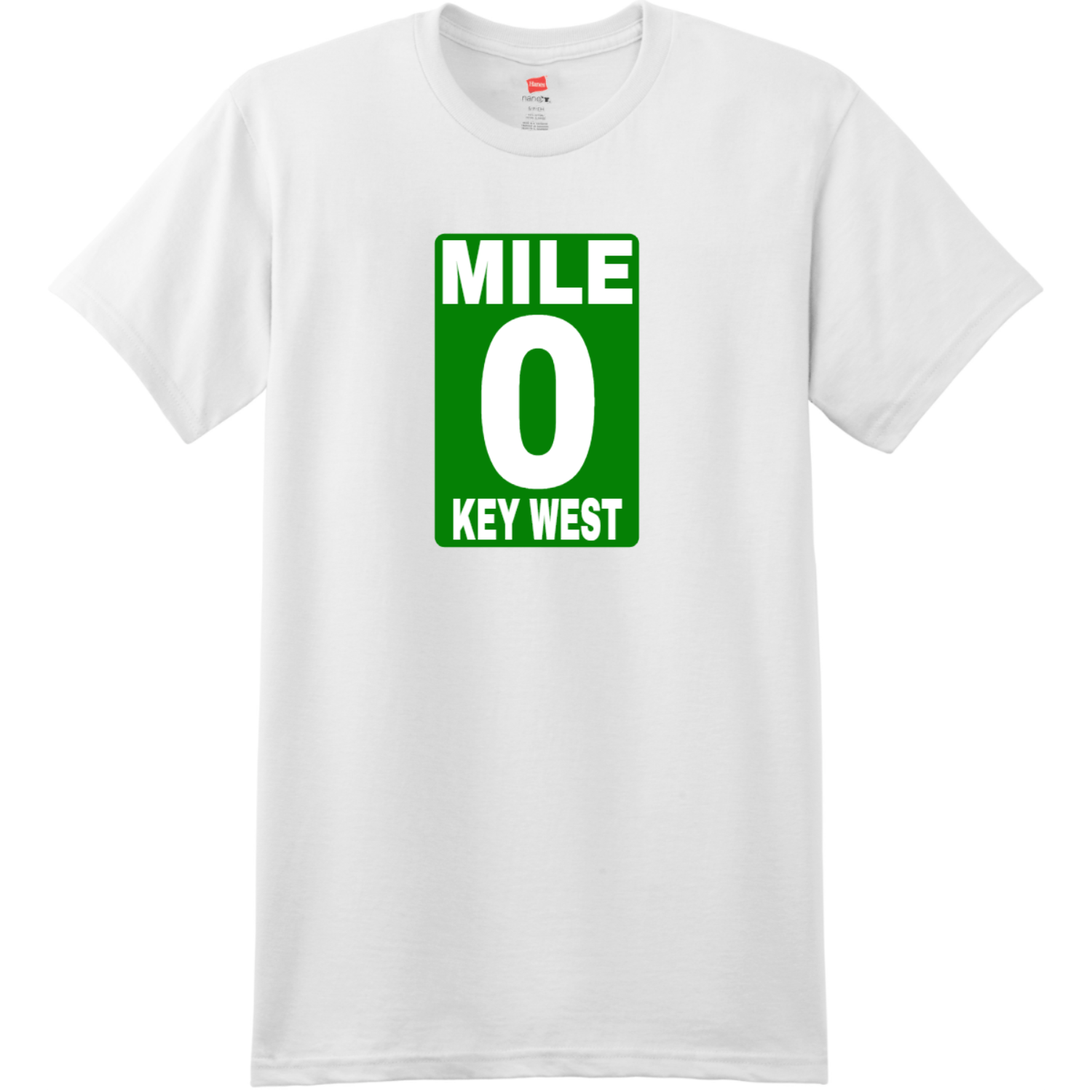 Mile 0 Key West T Shirt White Hanes Nano 4980 Ringspun Cotton T Shirt