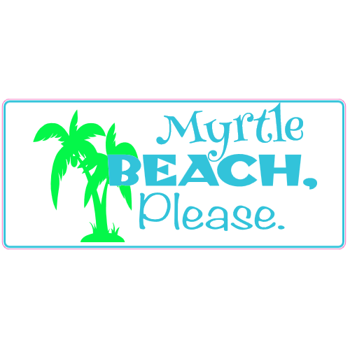 Myrtle Beach Please Bumper Sticker | U.S. Custom Stickers