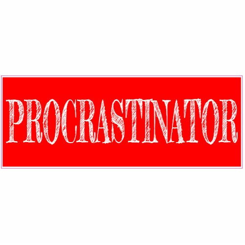 Procrastinator Red Bumper Sticker | U.S. Custom Stickers