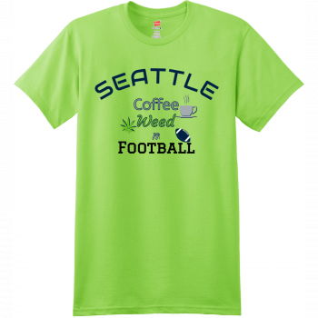 Seattle Coffee Weed And Football T Shirt Lime Hanes Nano 4980 Ringspun Cotton T Shirt