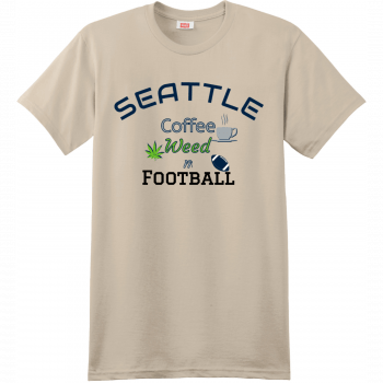 Seattle Coffee Weed And Football T Shirt Sand Hanes Nano 4980 Ringspun Cotton T Shirt