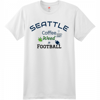 Seattle Coffee Weed And Football T Shirt White Hanes Nano 4980 Ringspun Cotton T Shirt
