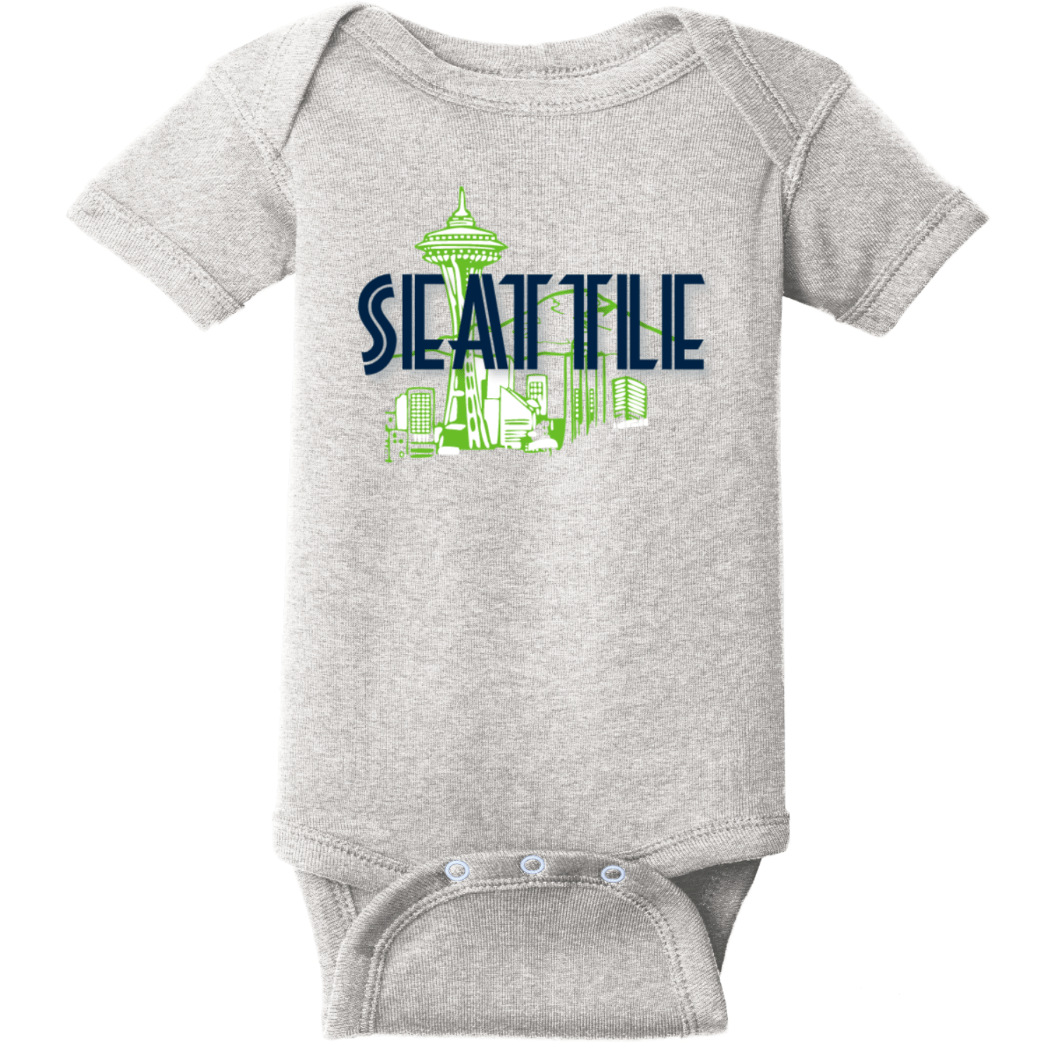 Seattle Space Needle Baby Bodysuit Heather Rabbit Skins Infant Short Sleeve Infant Rib Bodysuit RS4400