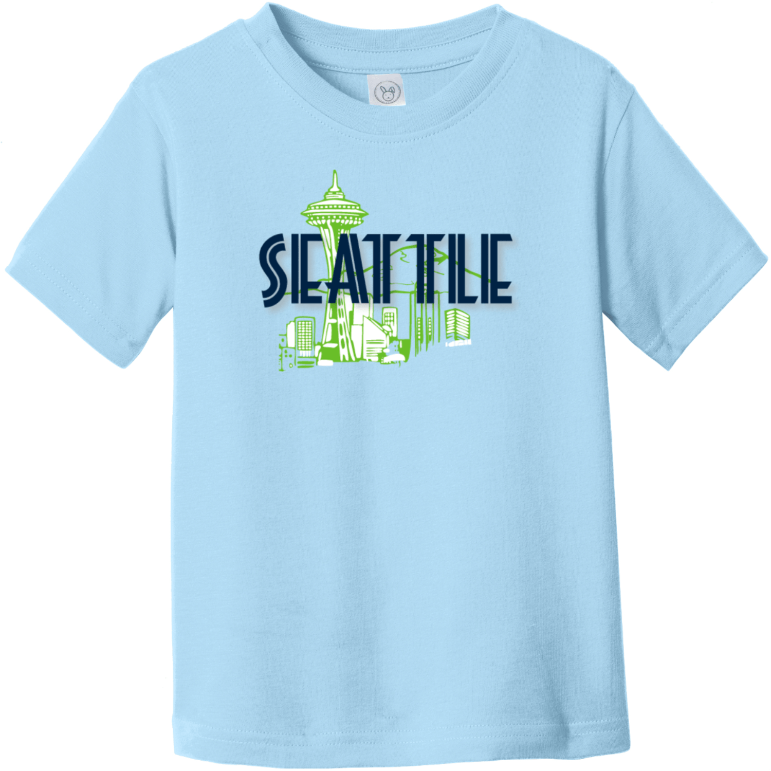 Seattle Space Needle Toddler T-Shirt Light Blue Rabbit Skins Toddler Fine Jersey Tee RS3321