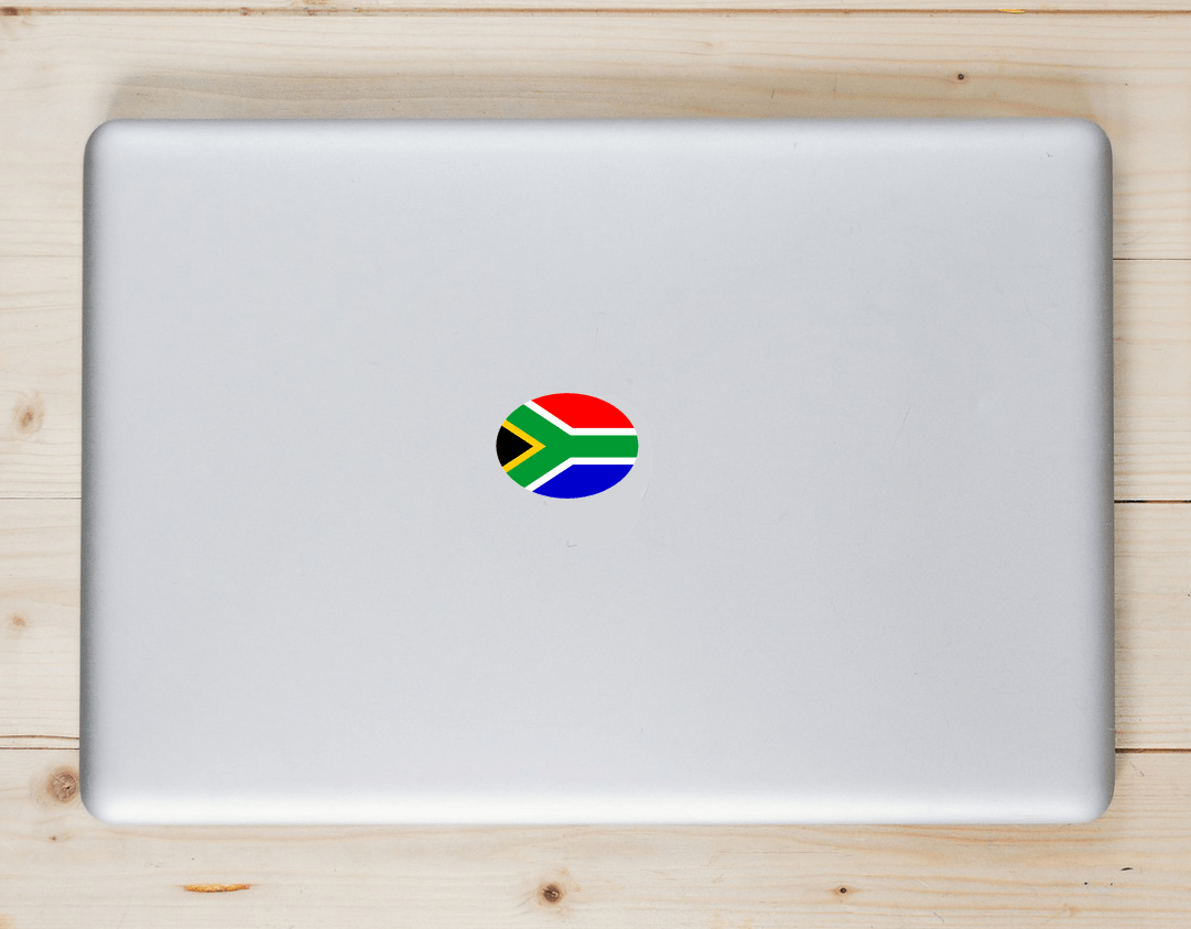 South African Flag Oval Sticker Laptop Sticker
