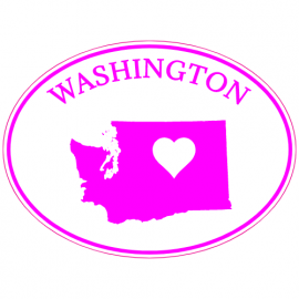 Washington State Heart Oval Sticker | U.S. Custom Stickers
