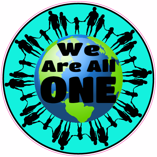 We Are All One Earth Peace Circle Sticker | U.S. Custom Stickers
