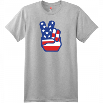 American Flag Peace Hands T Shirt Ash Hanes Nano 4980 Ringspun Cotton T Shirt
