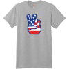 American Flag Peace Hands T Shirt Light Steel Hanes Nano 4980 Ringspun Cotton T Shirt