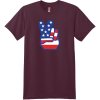 American Flag Peace Hands T Shirt Maroon Hanes Nano 4980 Ringspun Cotton T Shirt