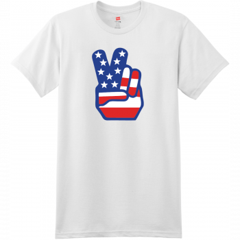 American Flag Peace Hands T Shirt White Hanes Nano 4980 Ringspun Cotton T Shirt