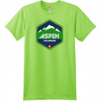 Aspen Colorado Mountain T Shirt Lime Hanes Nano 4980 Ringspun Cotton T Shirt