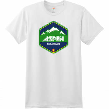 Aspen Colorado Mountain T Shirt White Hanes Nano 4980 Ringspun Cotton T Shirt