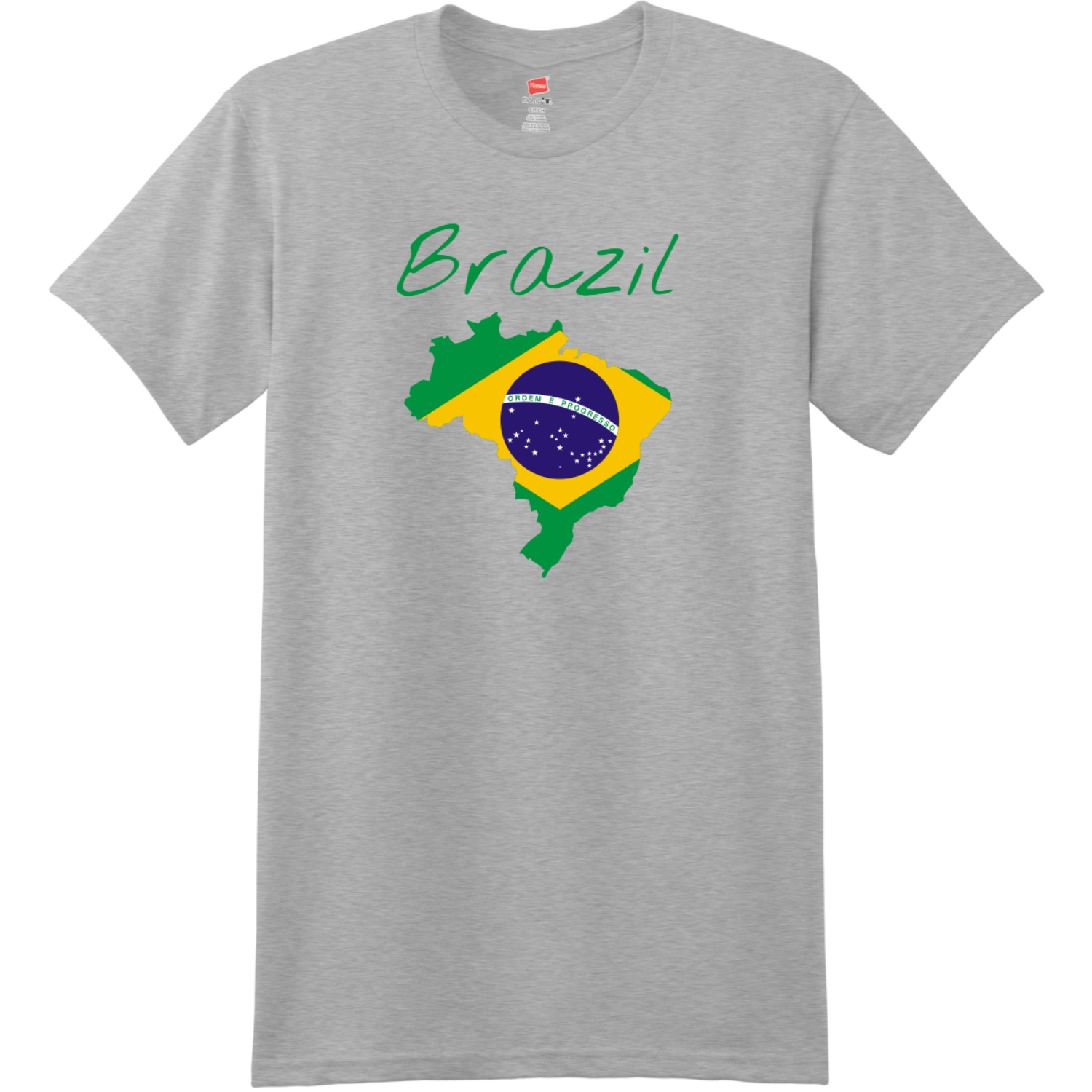 Brazil Country Flag T Shirt Light Steel Hanes Nano 4980 Ringspun Cotton T Shirt