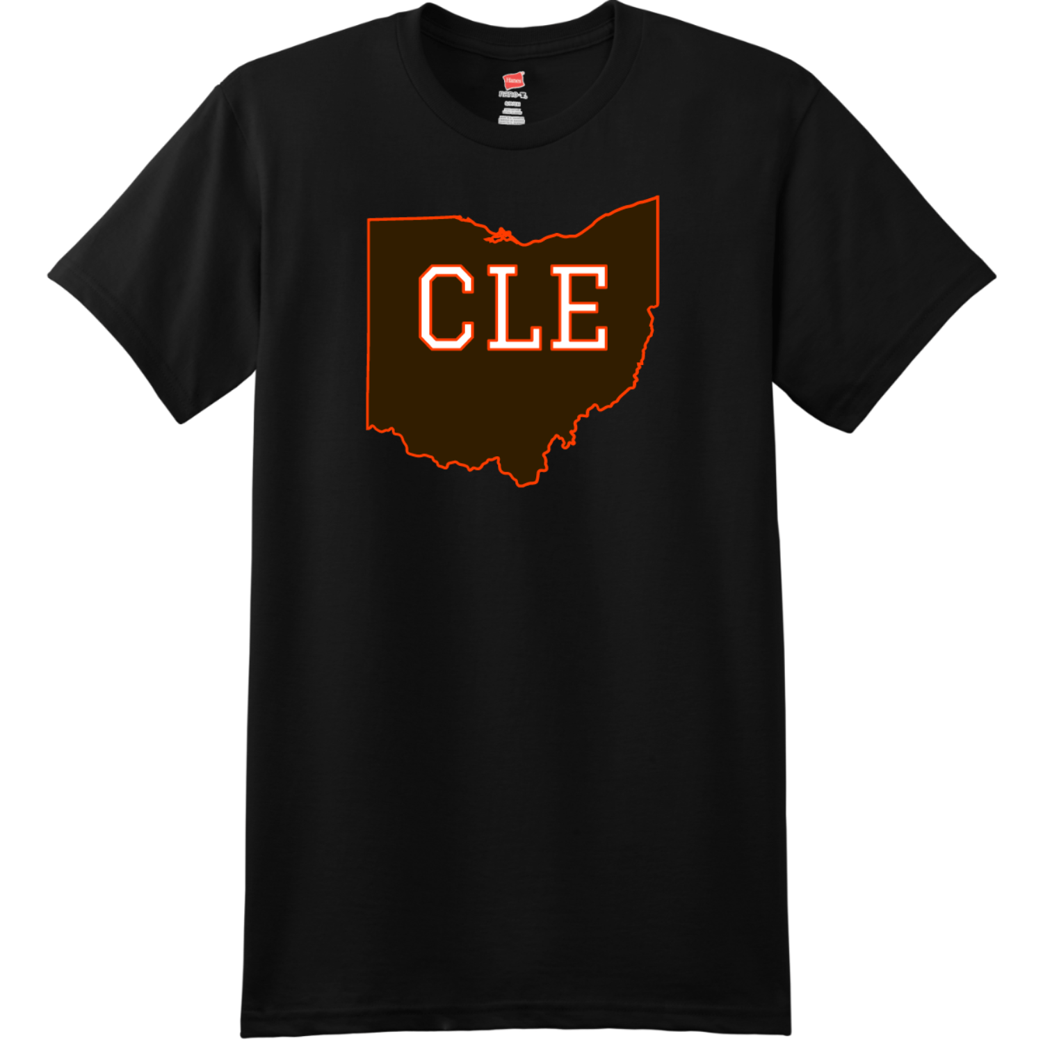 CLE Cleveland Ohio State T Shirt Black Hanes Nano 4980 Ringspun Cotton T Shirt
