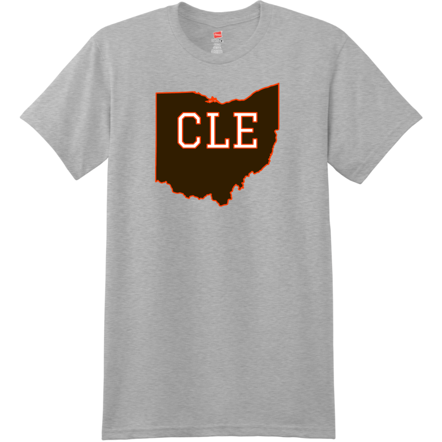 CLE Cleveland Ohio State T Shirt Light Steel Hanes Nano 4980 Ringspun Cotton T Shirt