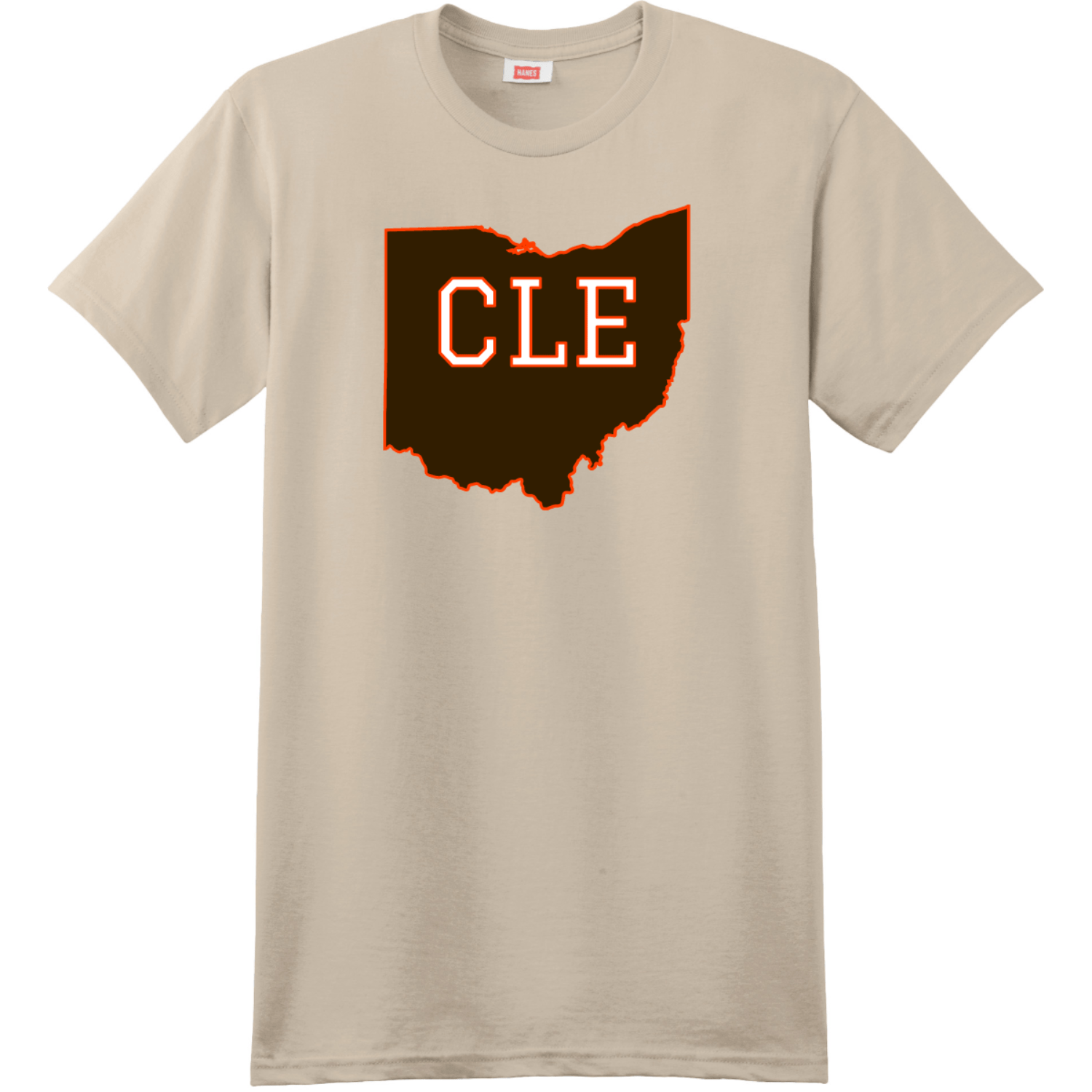 CLE Cleveland Ohio State T Shirt Sand Hanes Nano 4980 Ringspun Cotton T Shirt