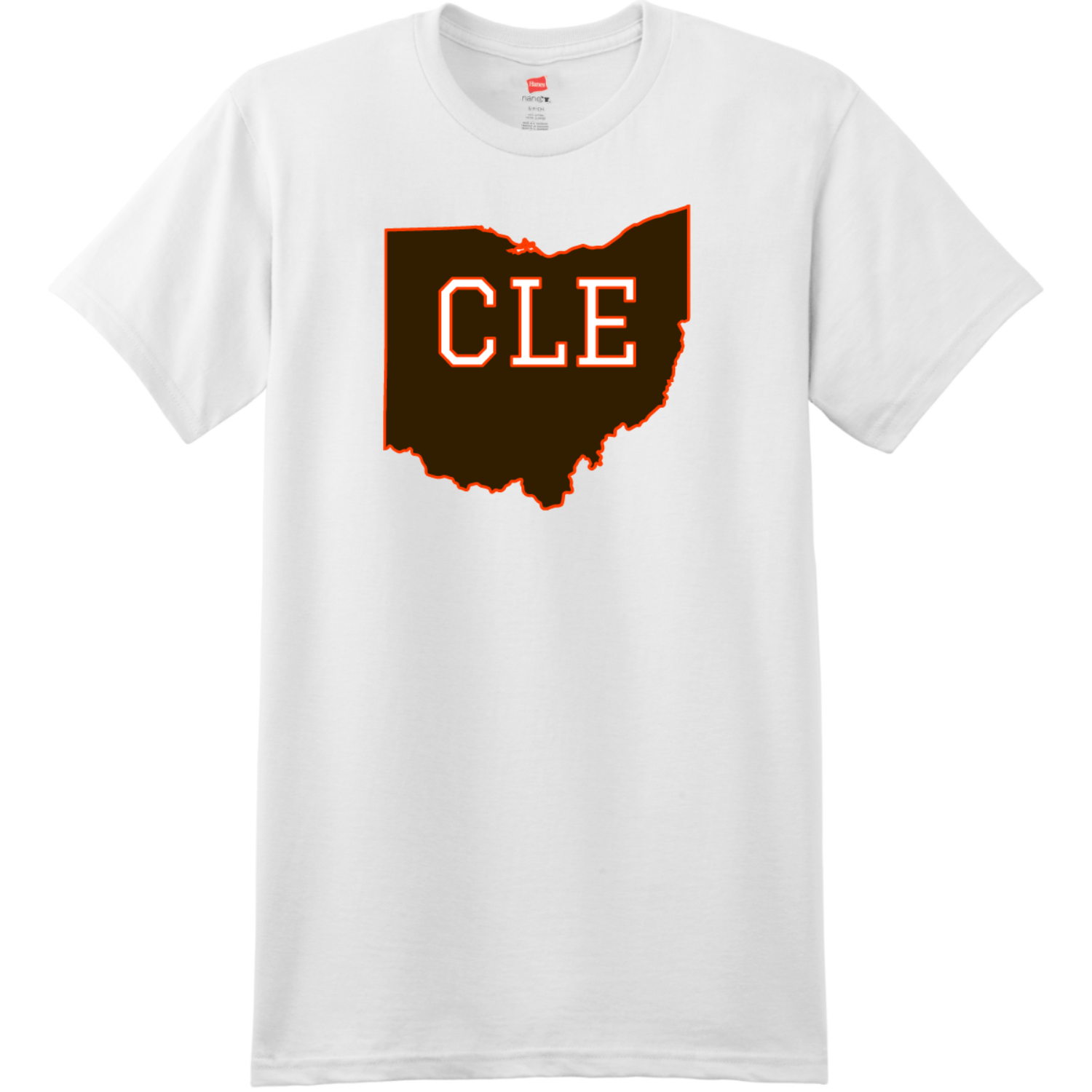 CLE Cleveland Ohio State T Shirt White Hanes Nano 4980 Ringspun Cotton T Shirt