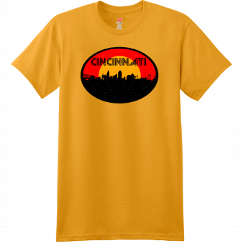 Cincinnati Ohio Skyline Distressed T Shirt Gold Hanes Nano 4980 Ringspun Cotton T Shirt