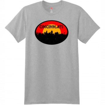 Cincinnati Ohio Skyline Distressed T Shirt Light Steel Hanes Nano 4980 Ringspun Cotton T Shirt