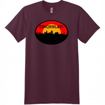 Cincinnati Ohio Skyline Distressed T Shirt Maroon Hanes Nano 4980 Ringspun Cotton T Shirt