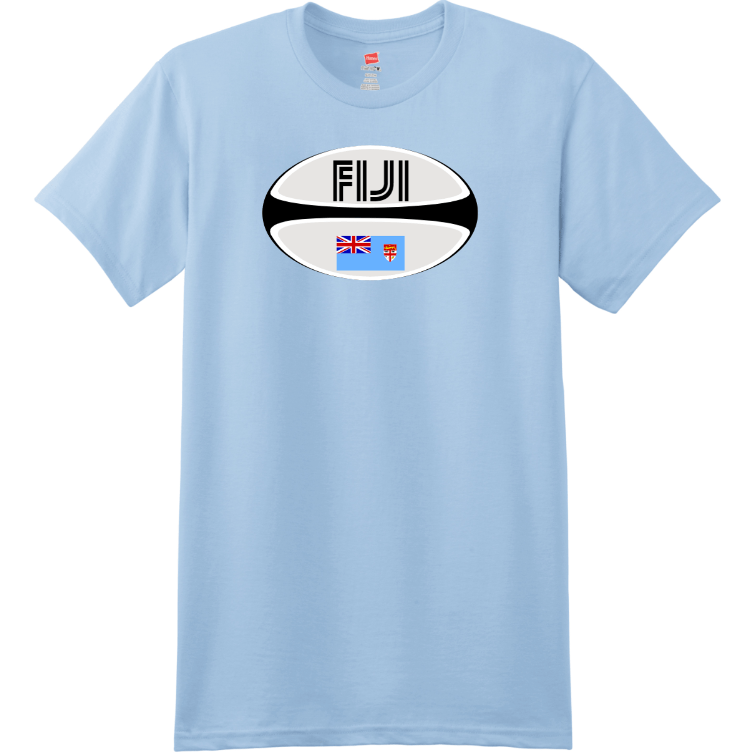 Fiji Rugby Ball T Shirt Light Blue Hanes Nano 4980 Ringspun Cotton T Shirt