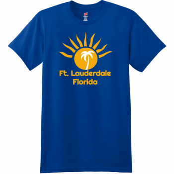 Ft Lauderdale Sunshine Palm Tree T Shirt Deep Royal Hanes Nano 4980 Ringspun Cotton T Shirt