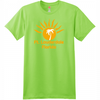 Ft Lauderdale Sunshine Palm Tree T Shirt Lime Hanes Nano 4980 Ringspun Cotton T Shirt