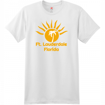 Ft Lauderdale Sunshine Palm Tree T Shirt White Hanes Nano 4980 Ringspun Cotton T Shirt