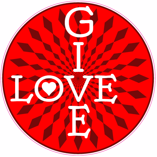 Give Love Abstract Circle Sticker | U.S. Custom Stickers