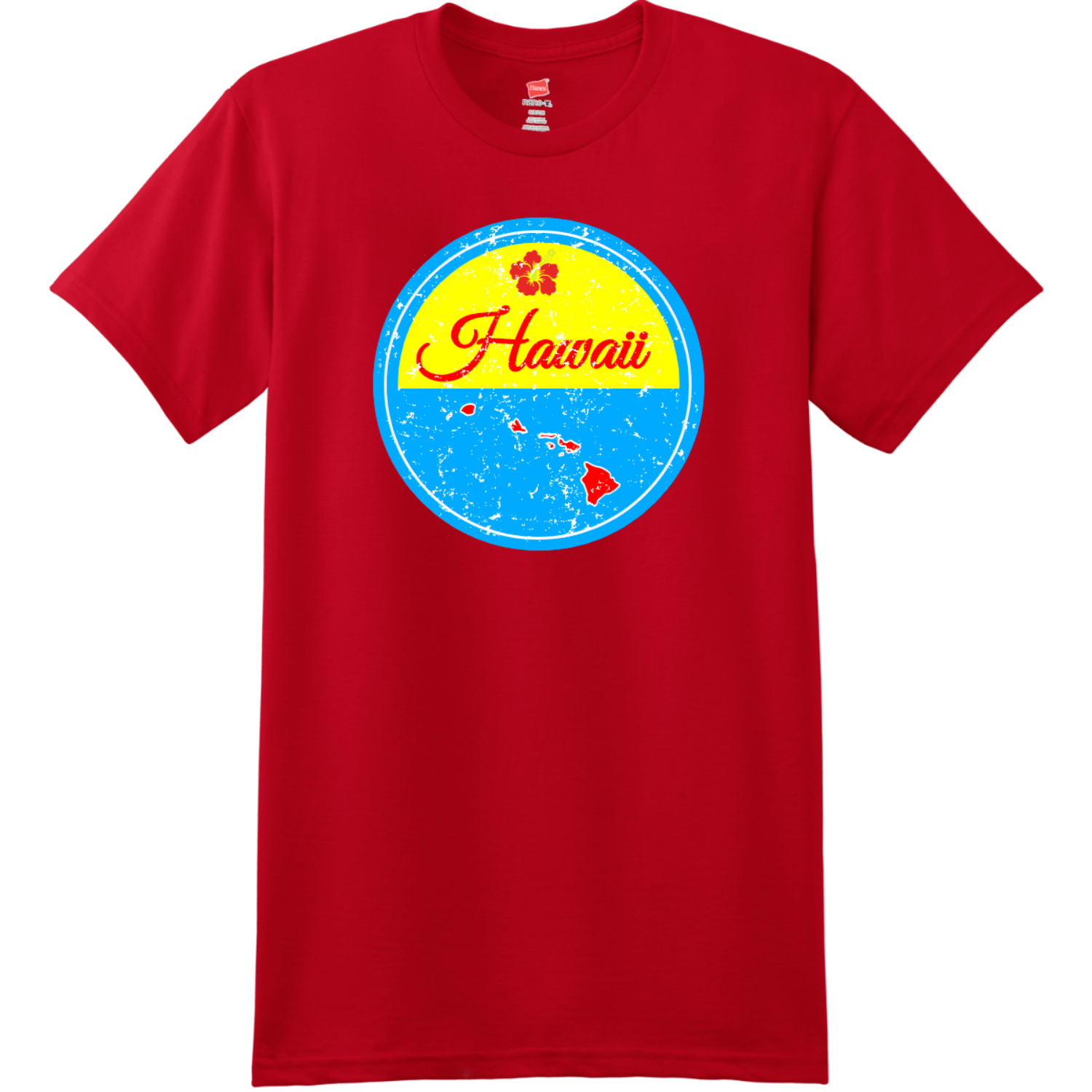 Hawaii Islands State Retro T Shirt Deep Red Hanes Nano 4980 Ringspun Cotton T Shirt