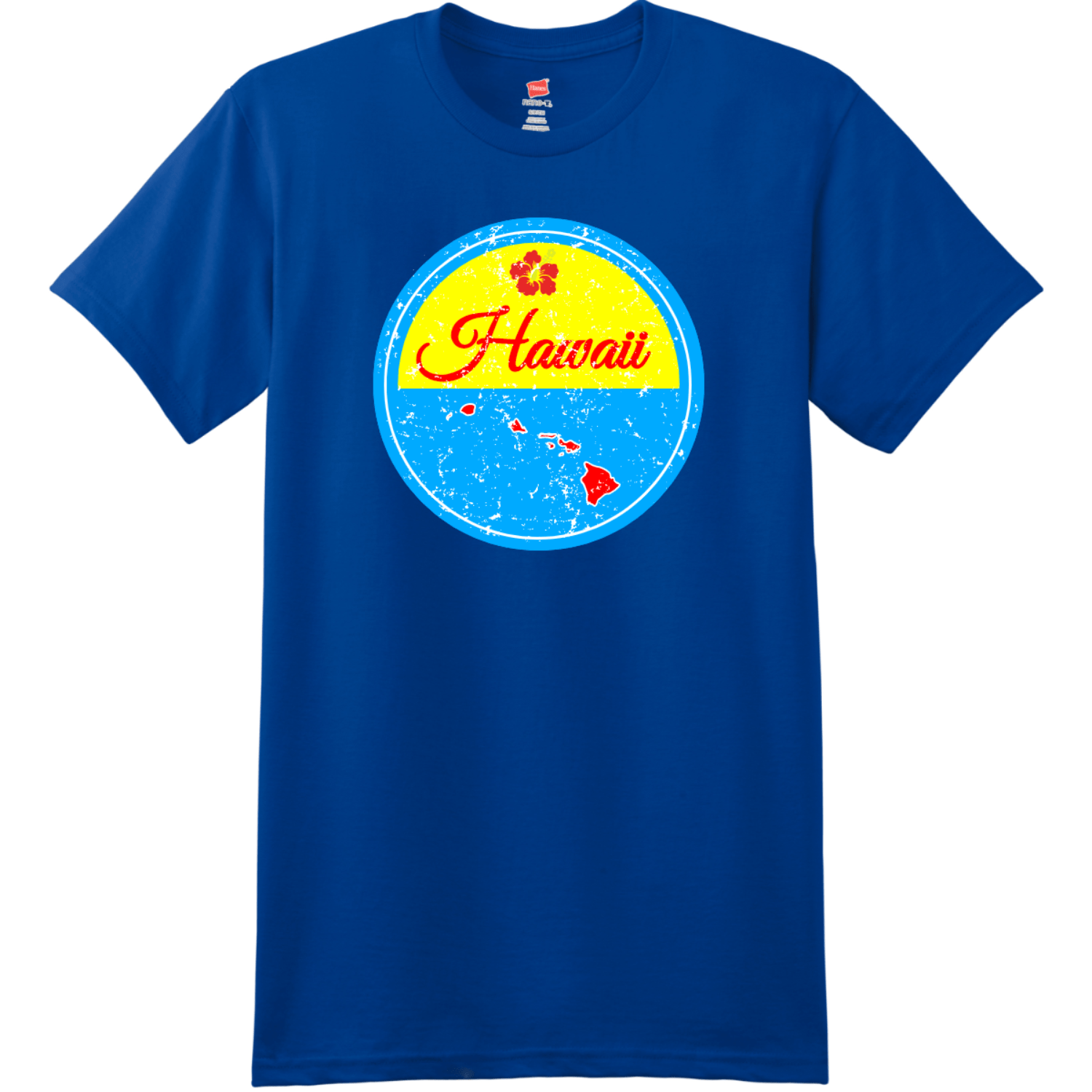 Hawaii Islands State Retro T Shirt Deep Royal Hanes Nano 4980 Ringspun Cotton T Shirt