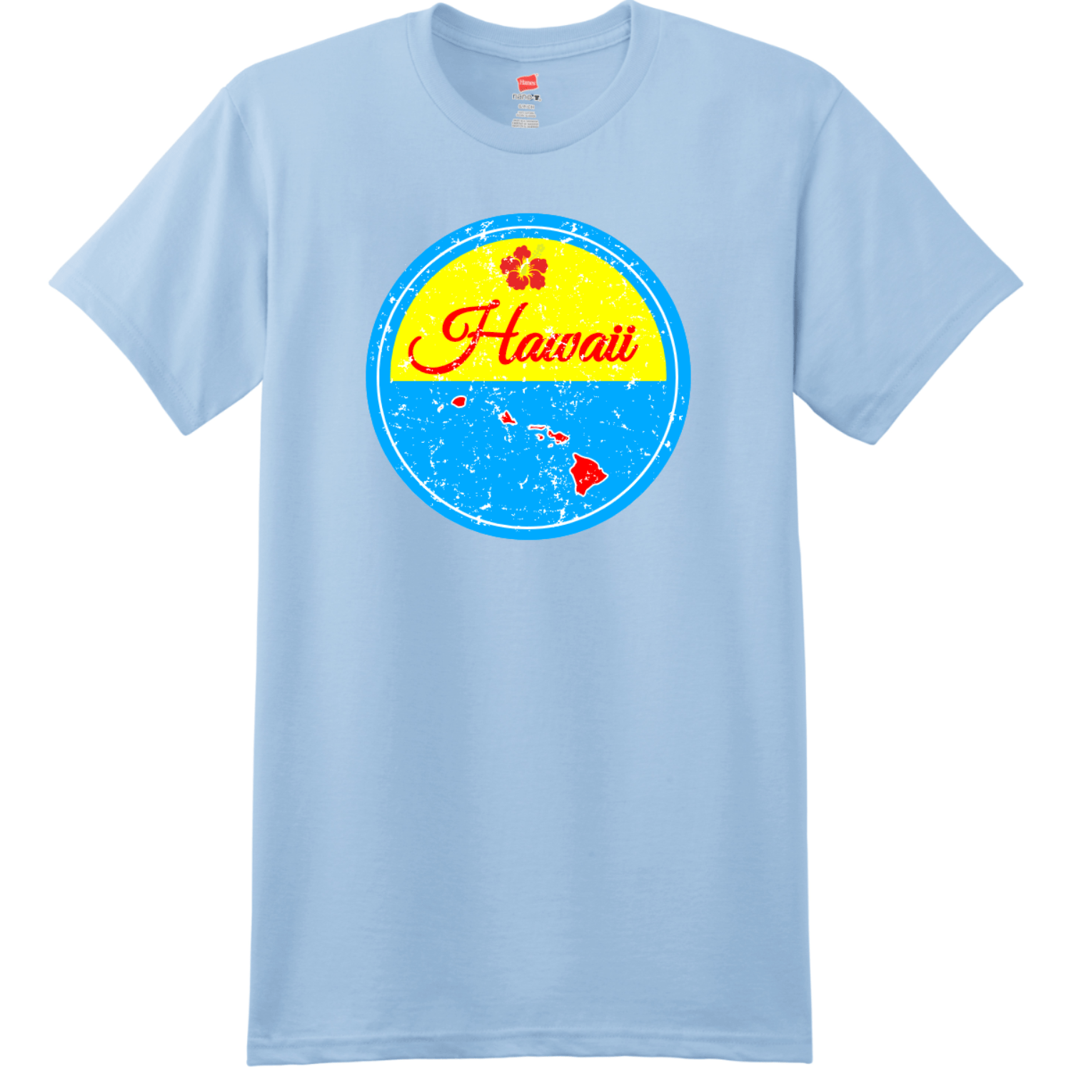 Hawaii Islands State Retro T Shirt Light Blue Hanes Nano 4980 Ringspun Cotton T Shirt