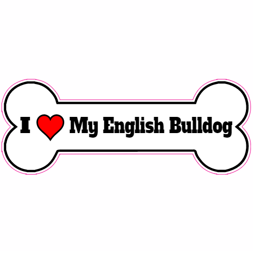 I Love My English Bulldog Bone Sticker | U.S. Custom Stickers
