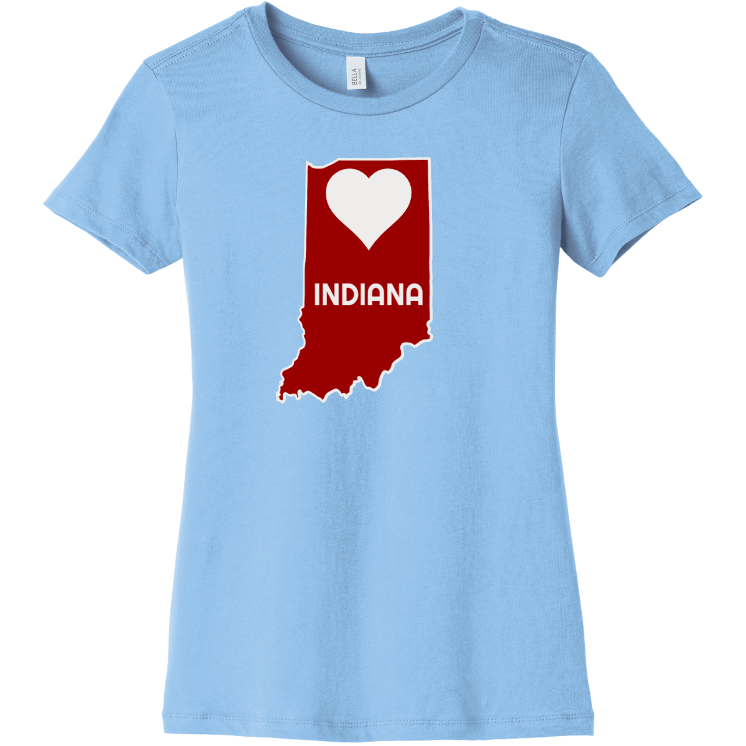 Indiana Heart State T Shirt For Women Baby Blue Bella Canvas 6004 Ladies The Favorite Tee
