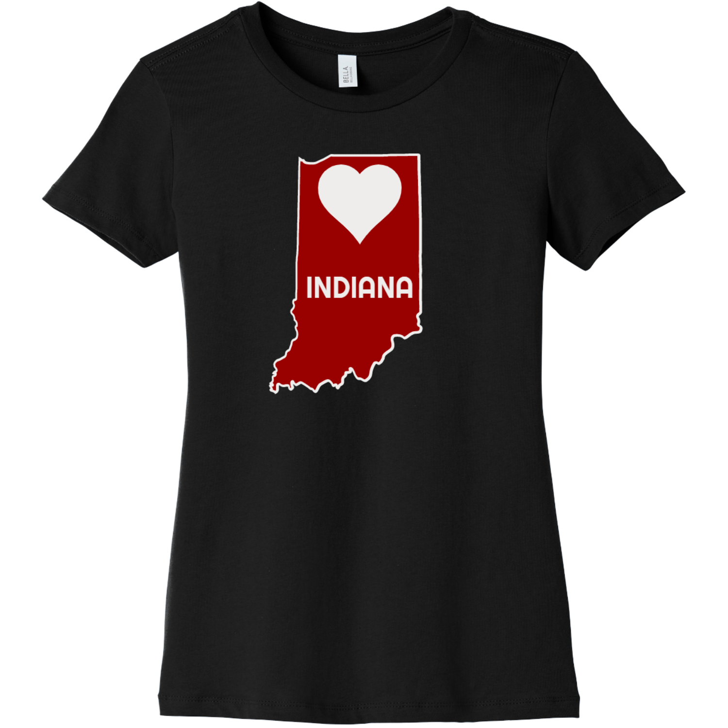 Indiana Heart State T Shirt For Women Black Bella Canvas 6004 Ladies The Favorite Tee