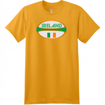 Ireland Rugby Ball T Shirt Gold Hanes Nano 4980 Ringspun Cotton T Shirt