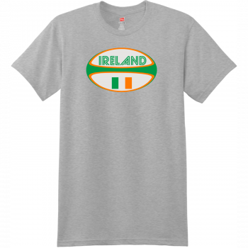 Ireland Rugby Ball T Shirt Light Steel Hanes Nano 4980 Ringspun Cotton T Shirt